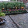 landscape lighting and fire pit in cobblestone patio